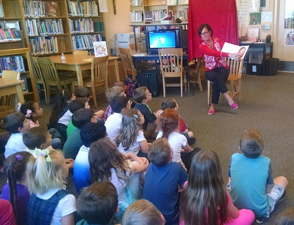 Sharing Faith's story with the kindergarten class at St. Patrick School in Tacoma